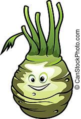 Healthy fresh cartoon kohlrabi vegetable - Healthy fresh...