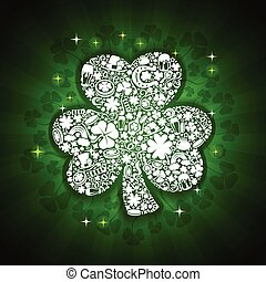 St Patricks Days card of white objects on shine background