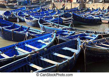 Moroccan Blue fishing boats in Essaouira