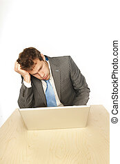 computer troubles - Worried businessman thinking deep and...