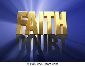 """Faith Vanquishes Doubt - Bright, gold """"FAITH"""" atop a dark..."""