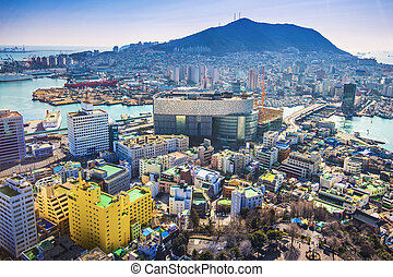 Busan, South Korea cityscape from above.