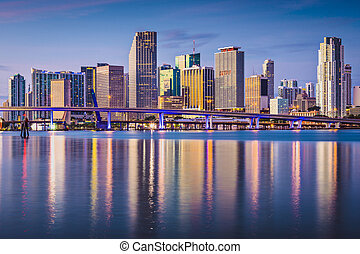 Miami Skyline - Miami, Florida, USA downtown skyline at dawn...
