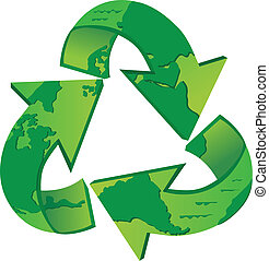 World Recycle - Recycling symbol with the world map on it...