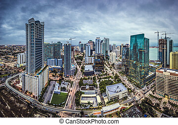 Miami Skyline - Miami, Florida, USA downtown aerial...