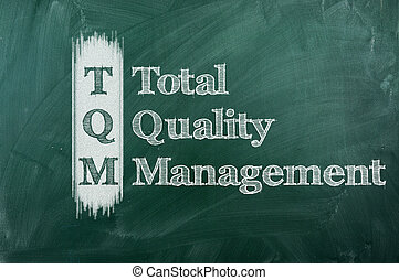 tqm - TQM total quality management on green chalkboard