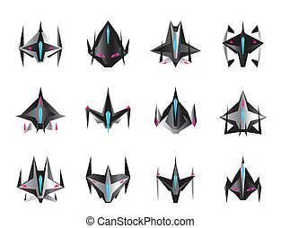 Various spaceships in flight - vector illustration