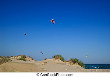 kitesurf and sand dunes