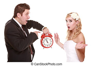 Wedding couple quarreling conflict bad relationships -...