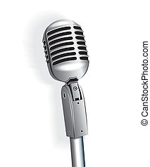 Microphone On Stand - Microphone vintage metallic object...