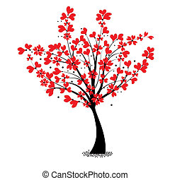 Valentine tree vector, flower shaped of heart. Love card....