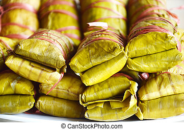 Buras is Indonesian's traditional food ie steamed rice...