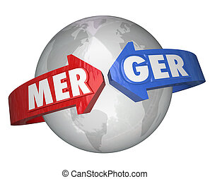 Merger Word Arrows Around World Combining Companies Business...