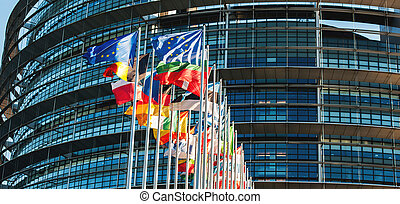 EU flags in front of Parliament - All EU members flags in...