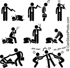 Business Bullying Backstab Fight - A set of human pictograms...