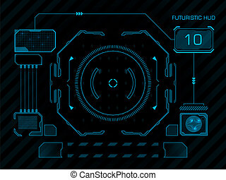 Futuristic user interface HUD - Futuristic blue virtual...