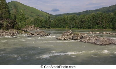 Panorama of the mountain river Katun. Altai Krai. Russia.