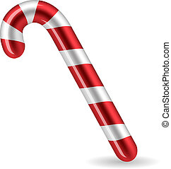 Candy Cane isolated on white background Vector illsutration