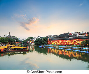 nanjing scenery at dusk - nanjing scenery of qinhuai river...