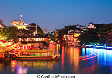nanjing night scene - nanjing night view of confucius temple...