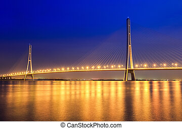 beautiful cable stayed bridge at night in nanjing ,China