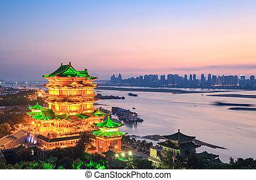 nanchang tengwang pavilion in sunset - beautiful nanchang...