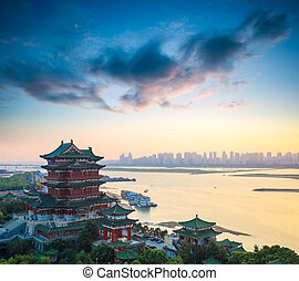beautiful nanchang tengwang pavilion at dusk,one of chinese...