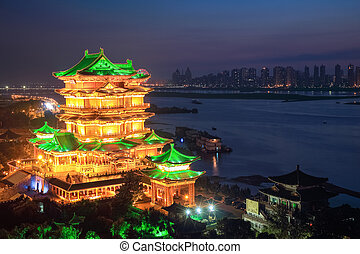the tengwang pavilion at night in nanchang ,one of chinese...