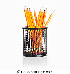 pencil stand - lead pencils in metal pot on a white...