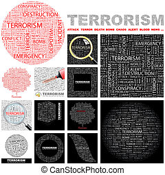 Terrorism. Concept illustration. - Terrorism. Word cloud...