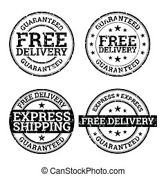 Free Delivery Black and White Stamp - Vector illustration of...