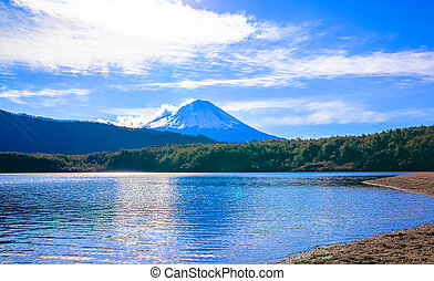 Lake Saiko and Mount Fuji, bright clouds