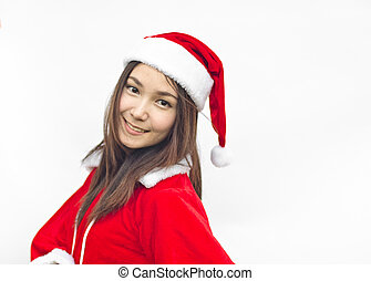 Beautiful young santa clause woman, isolated - Beautiful...