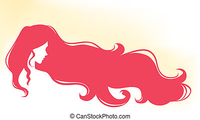 Silhouette of womans profile - Silhouette of young beautiful...