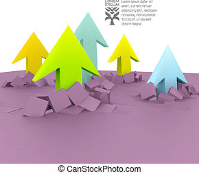 3D illustration - Arrows Business concept background 3D...