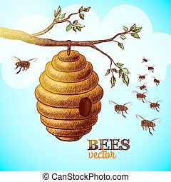 Honey bees and hive on tree branch background vector...
