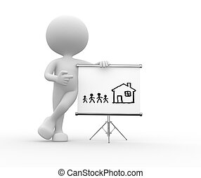 Flipchart - 3d people - man, person pointing a flipchart...