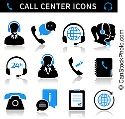 Call Center Service Icons Set - Call center service icons...