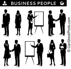 Flipcharts with business people silhouettes talking...