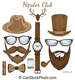 Vintage hipster club accessories set for gentleman of...