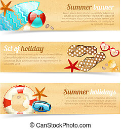 Collection of banners with summer holiday vacation -...