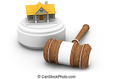 Real estate auction, house and gavel