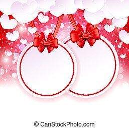 Two paper banner with bows and ribbons on the glowing background with paper hearts