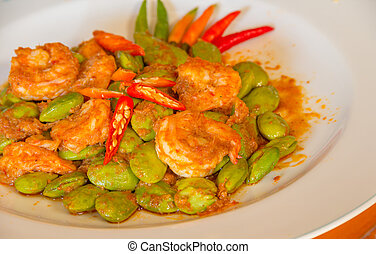 Asian food Sato Spicy fried shrimp - Sato Spicy fried shrimp