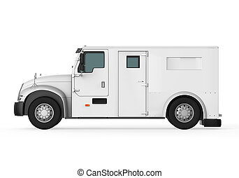 Armored Truck isolated on white background 3D render