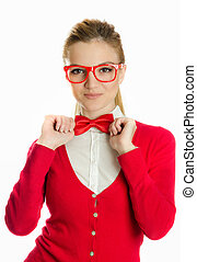 woman with glasses holding bowtie - woman with bowtie...