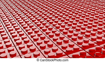 3D red background made of lego blocks