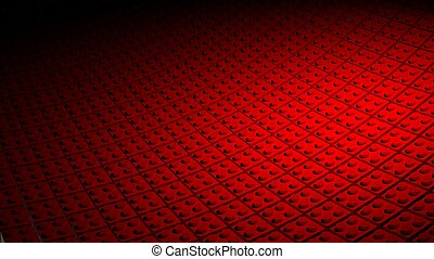 3D minimal red background made of lego blocks
