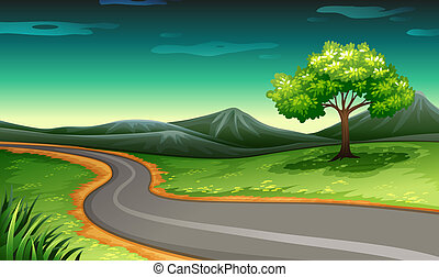 A road going to the mountain - Illustration of a road going...