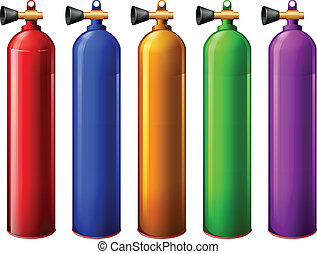 Oxygen tanks - Illustration of the oxygen tanks on a white...